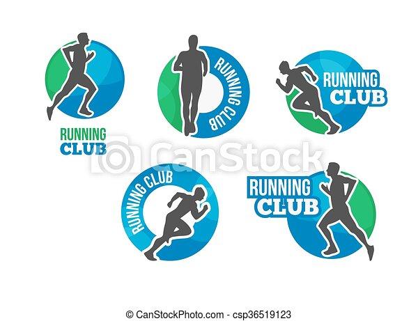 Logotipo de vector de maratón. El icono del club. Es una competencia en la carrera. Entrenamiento de cardio. Ejecuta etiqueta del club o emblema. Icono vector triatlón con el hombre que corre. - csp36519123