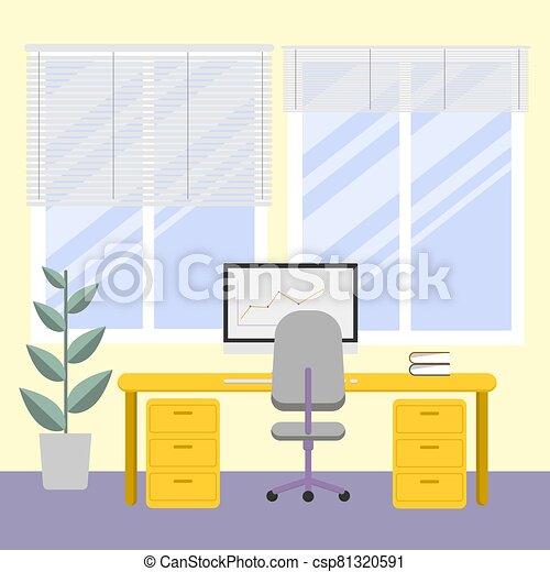 workplace., 明亮, 電腦, 時間, 內部, 窗口。, cabnet, 辦公室, 工作, work., flower. - csp81320591