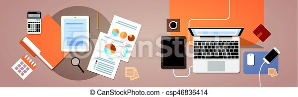 Workplace Desk Top Angle View Tablet Laptop Computer With Paper Documents Reports Finance Graph - csp46836414