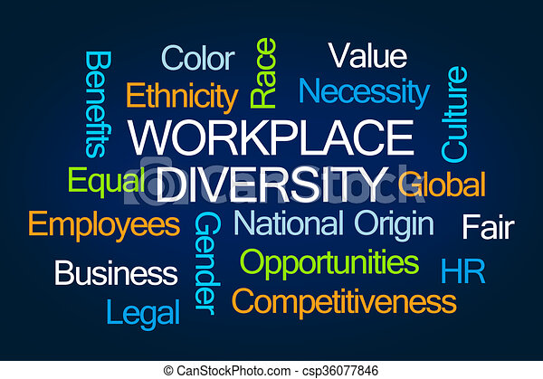 Diversity Meaning Workplace >> Workplace diversity word cloud on blue background.