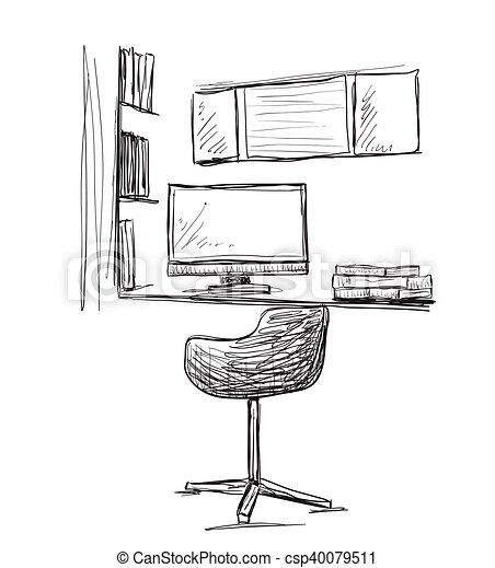 Stuhl gezeichnet  Vektor Clipart von workplace., gezeichnet, stuhl, edv, hand ...