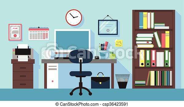 Illustration of workplace in office room eps vectors - Search Clip ...