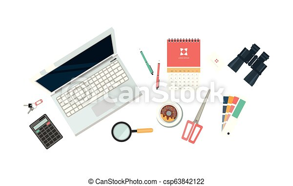 Workplace of designer, organization of working space, view from above vector Illustration on a white background - csp63842122
