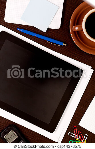 Workplace with blank digital tablet - csp14378575
