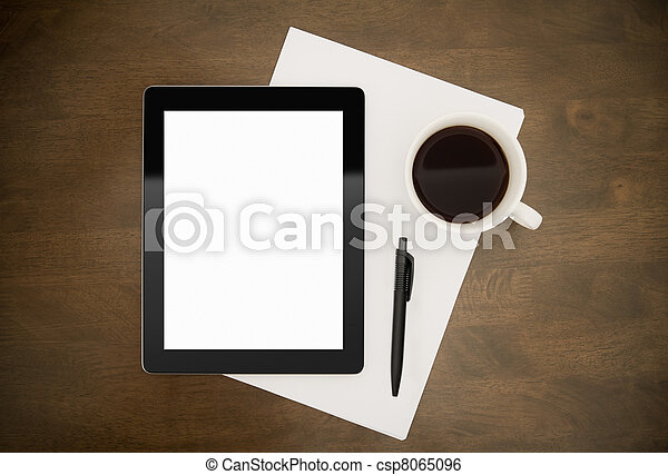 Workplace With Blank Digital Tablet - csp8065096
