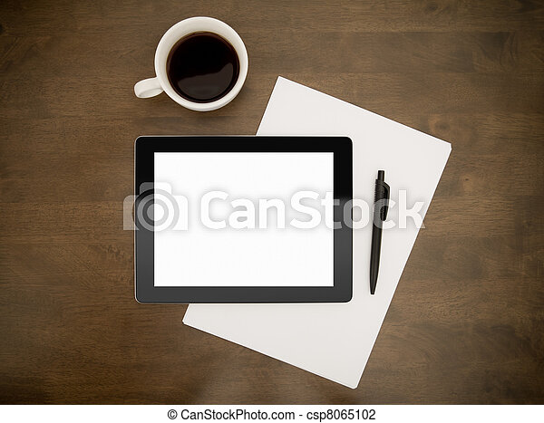 Workplace With Blank Digital Tablet - csp8065102