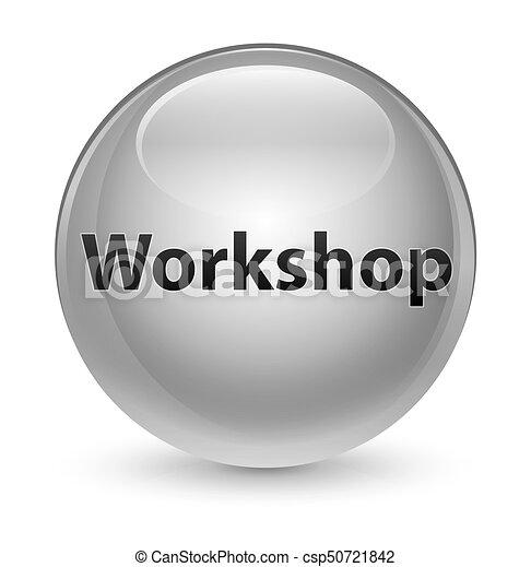 Workshop glassy white round button - csp50721842