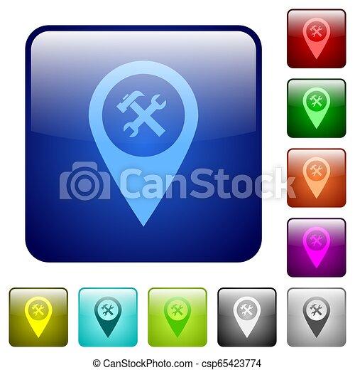 Workshop service GPS map location color square buttons - csp65423774