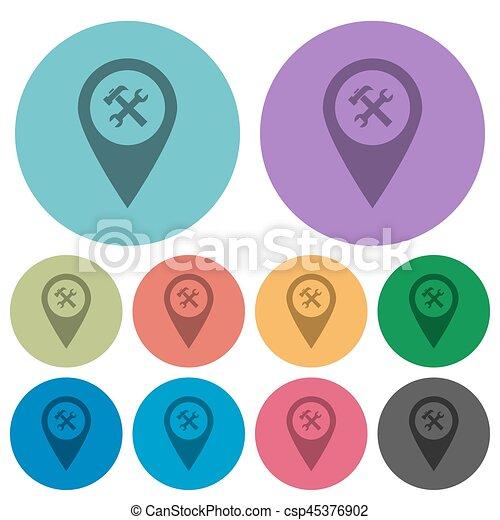 Workshop service GPS map location color darker flat icons - csp45376902