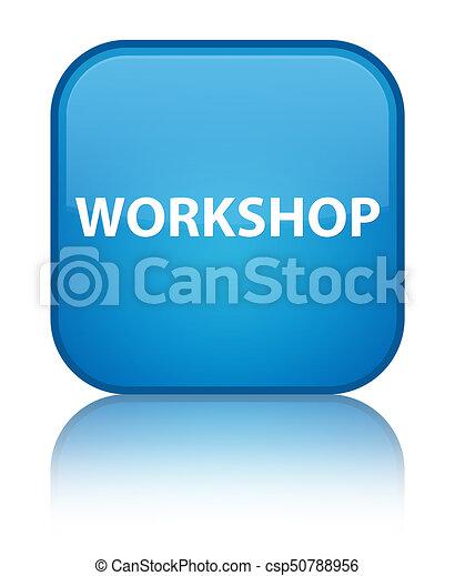 Workshop special cyan blue square button - csp50788956
