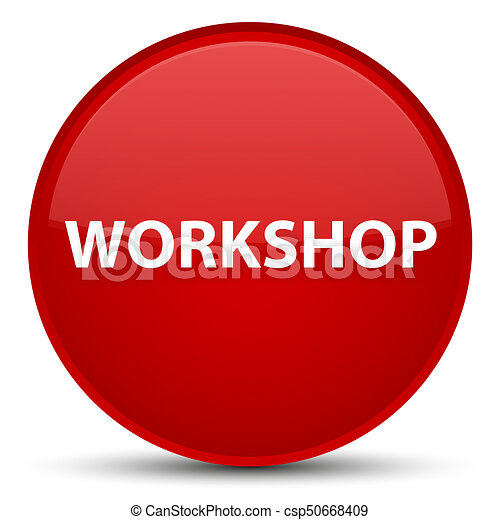 Workshop special red round button - csp50668409
