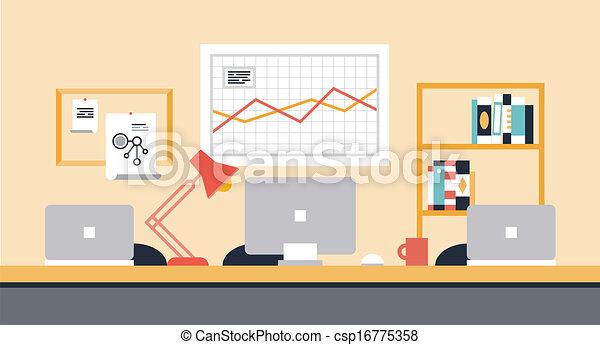 workspace, collaborazione, ufficio, illustrazione - csp16775358