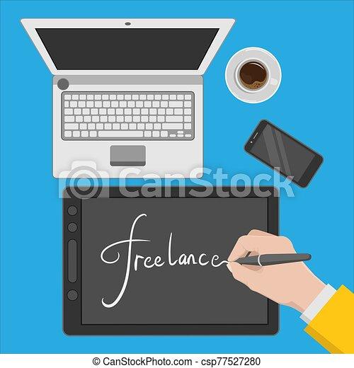 workspace, freelance, ilustração, desenho, desenhista - csp77527280