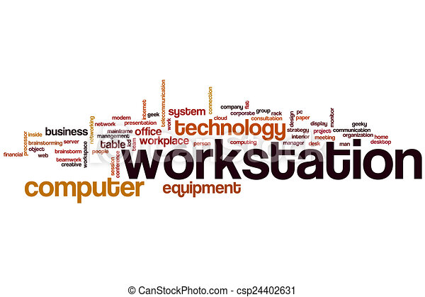 workstation word cloud concept with computer equipment related tags