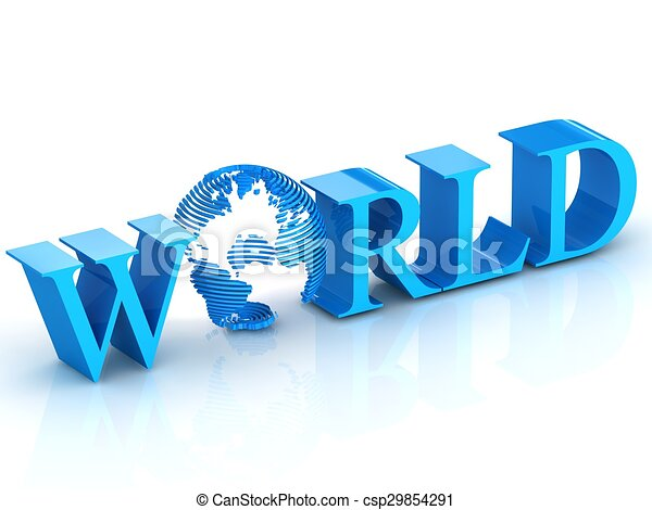 World 3D text with globe. - csp29854291