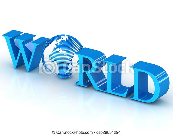 World 3D text with globe. - csp29854294
