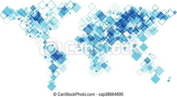 Abstract Map Of The World.World Abstract Map Blue World Silhouette Abstract Map Vector Paper