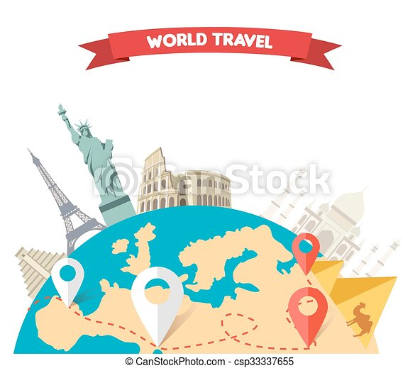 World Adventure Travel World Adventure Travel Relaxation Journey Leisure Rest Tourism Statue Liberty Eiffel Tower Canstock