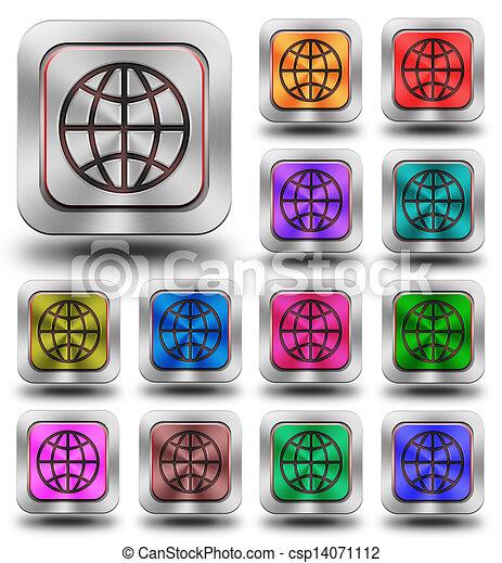 World aluminum glossy icons, crazy colors - csp14071112