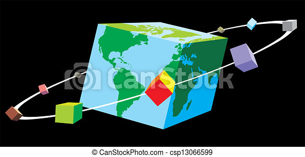Cube World Map.World As Cube World Map As Cube On The Black Background