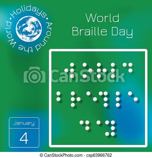 World Braille Day Name Of The Holiday Stylized Braille Calendar