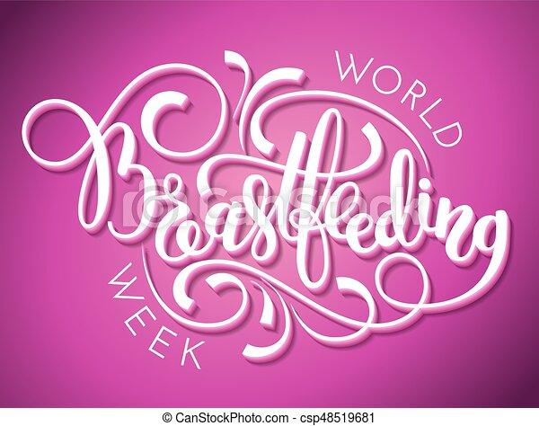 World Breastfeeding Week Hand Lettering On Pink Background Vector