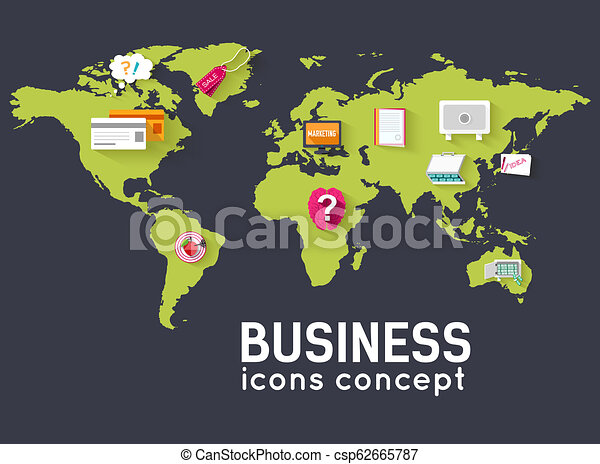 world business flat infographic template with text fields. Vector Illustration design - csp62665787