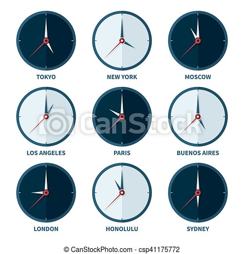 World clocks for time zones of different cities vector set world clocks for time zones of different cities vector set gumiabroncs Gallery