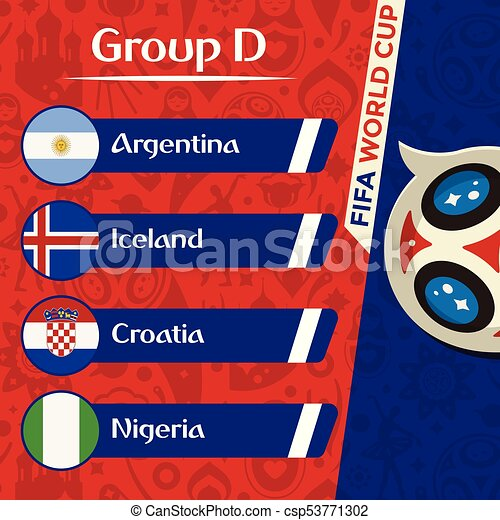 893b3d39a54 World Cup 2018 Group D Team Vector Image - csp53771302