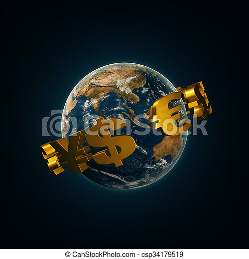 World currency signs around the earth - csp34179519