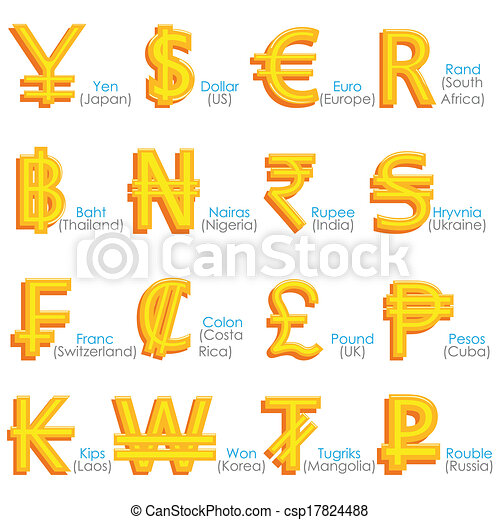 World Currency Symbol Easy To Edit Vector Illustration Of World
