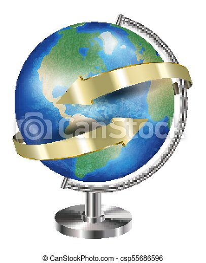 World earth planet globe with gold arrow - csp55686596
