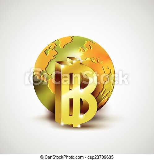 World economic concept with 3d gold world and Baht currency isolated on whit - csp23709635