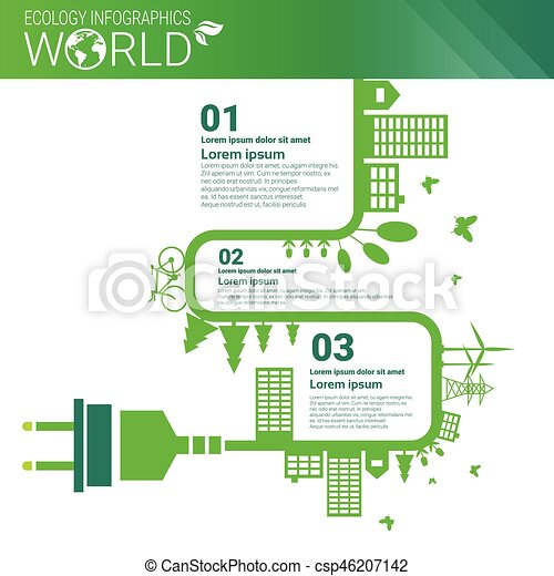 World Environmental Protection Green Energy Ecology Infographics Banner With Copy Space - csp46207142