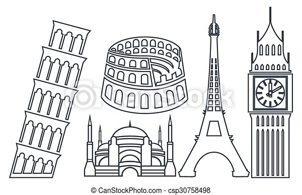 World Famous Buildings Icons Vector