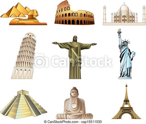 world famous monuments icons set - csp15511030