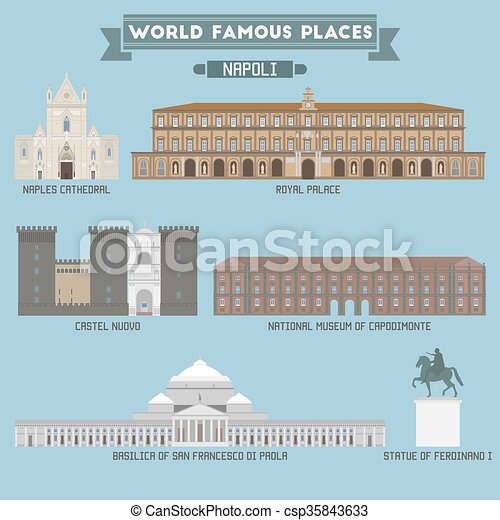World Famous Place. Italy. Napoli. Geometric icons of buildings - csp35843633