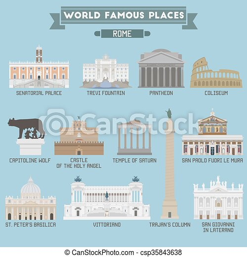 World Famous Place. Italy. Rome. Geometric icons of buildings - csp35843638