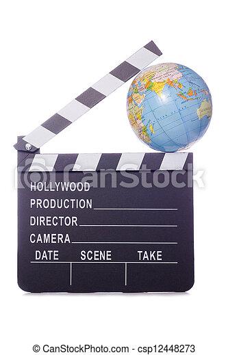 world film movie clapper cutout - csp12448273
