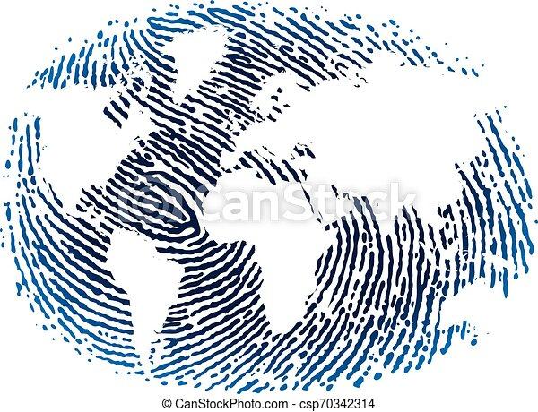 World fingerprint icon in blue tones. Flat style. - csp70342314