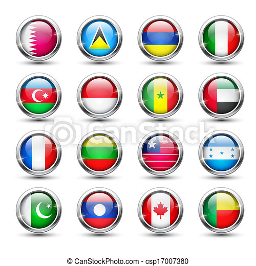 World flag glass icons - csp17007380