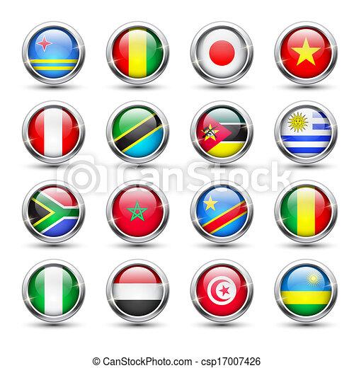 World flag glass icons - csp17007426
