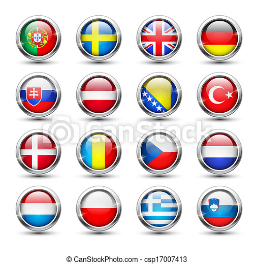 World flag glass icons - csp17007413
