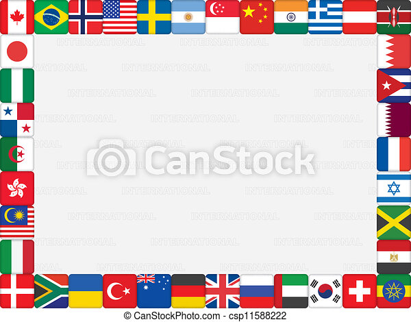 Background with world flag icons frame vector illustration.