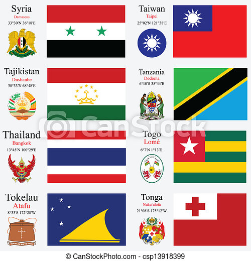 world flags and capitals set 24 - csp13918399