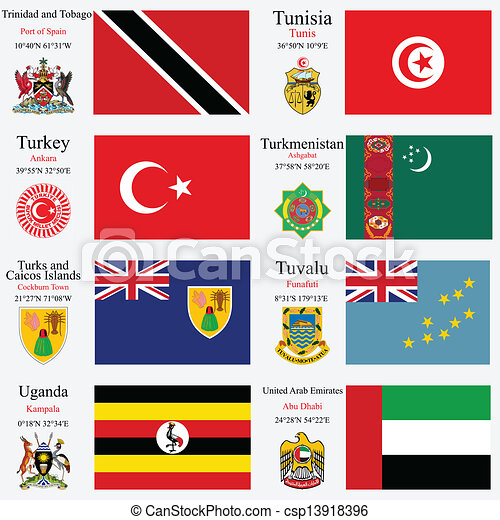 world flags and capitals set 25 - csp13918396