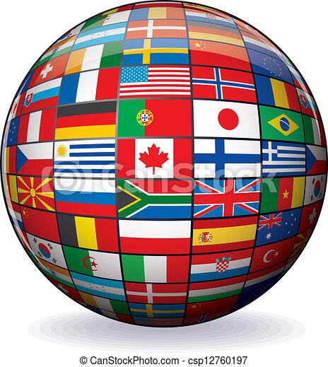 World Flags Globe. Vector Image - csp12760197