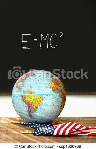 World globe, American flag on school desk - csp1638969