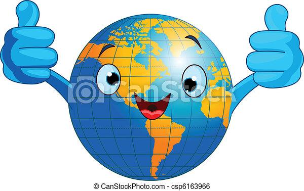 World globe character  - csp6163966