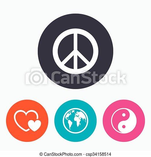 World Globe Icon Ying Yang Sign Hearts Love World Globe Icon